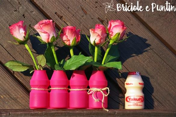 riciclo creativo dei vasetti dello yogurt da bere