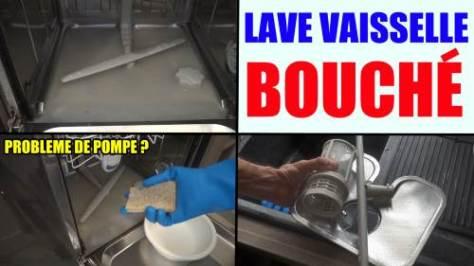 lave vaisselle bouché filtre pompe ne vidange pas l'eau ne coule plus deboucher nettoyer