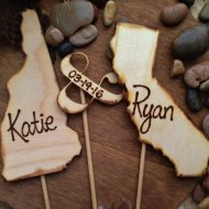 CUSTOM Wedding Cake Toppers USA States Rustic Personalized with YOUR Names Transplants 3-pc Set Vintage Travel Country Texas Organic Natural