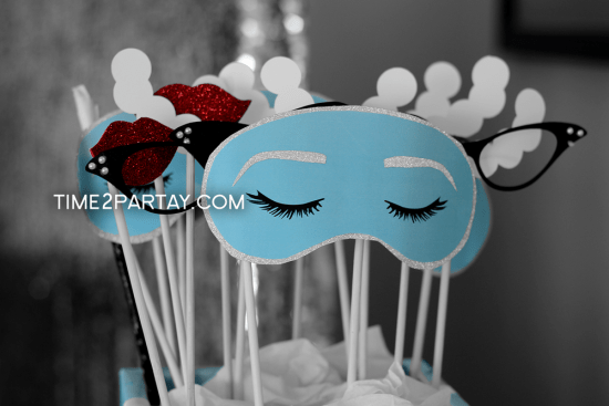 Tiffany Inspired Bridal Shower photo booth props