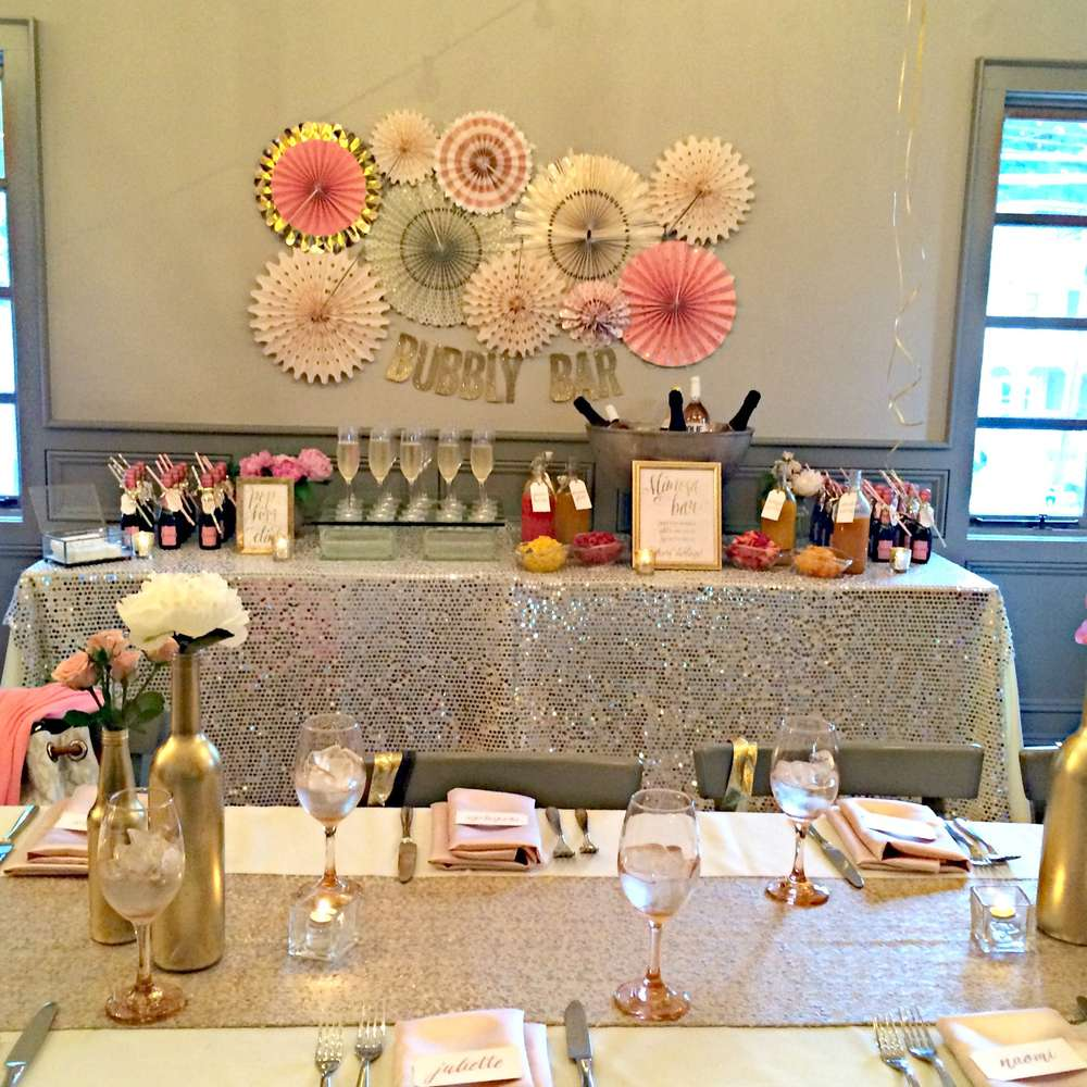 Jackie Fo Champagne Blush And Gold Wedding Inspiration: Bubbly Bar Bridal Shower