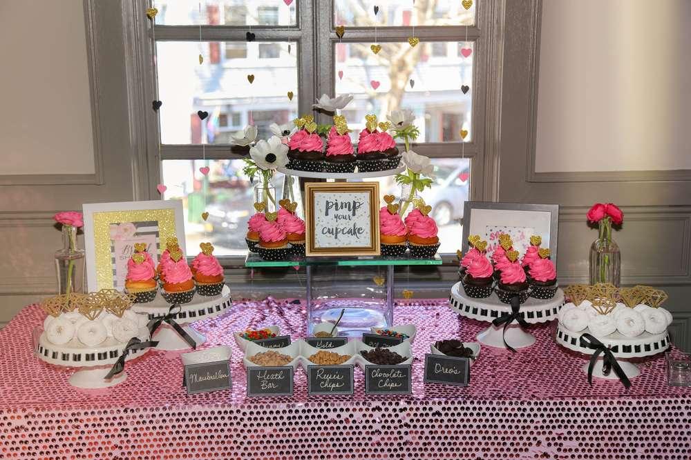 sophisticated kate spade inspired bridal shower dessert table