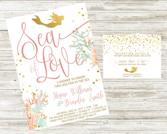 Mermaid Bridal Shower Invite Detail Card