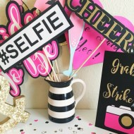 hot pink Bridal shower photo booth props