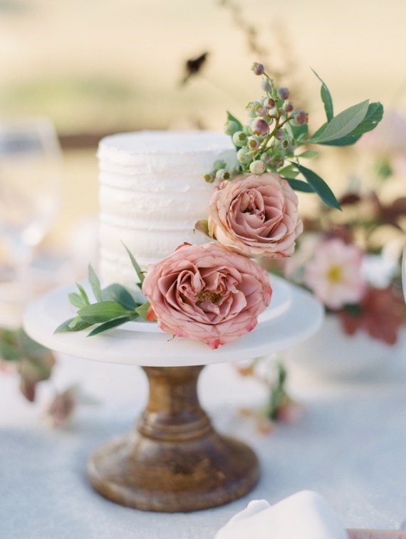 Dreamy Outdoor Bridal Shower pink floral cake