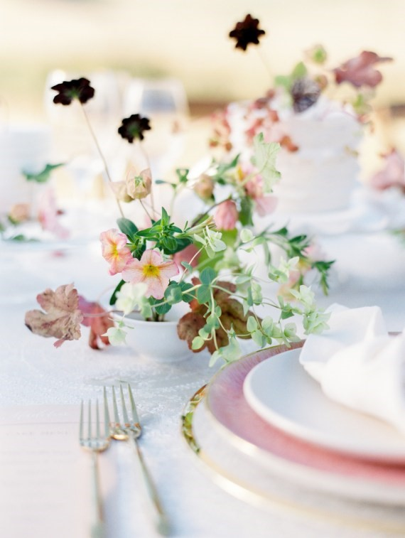 Dreamy Outdoor Bridal Shower table setting florals