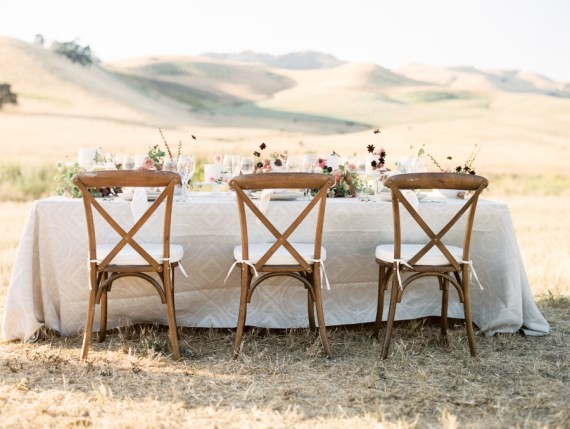 Dreamy Outdoor Bridal Shower table setting view