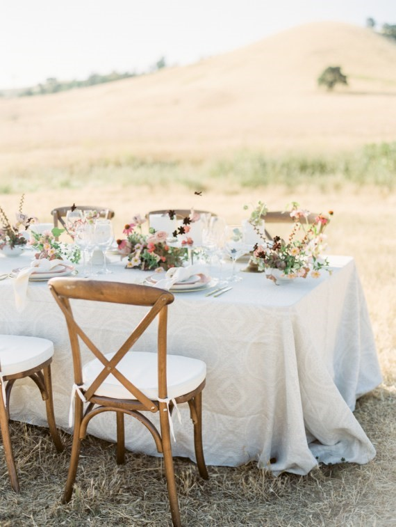 Dreamy Outdoor Bridal Shower table setting