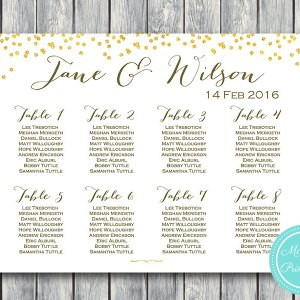Gold Sprinkle Printable Wedding Seating Chart WD47 WC34