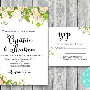 Peonies Wedding Invitation suite matching RSVP Card