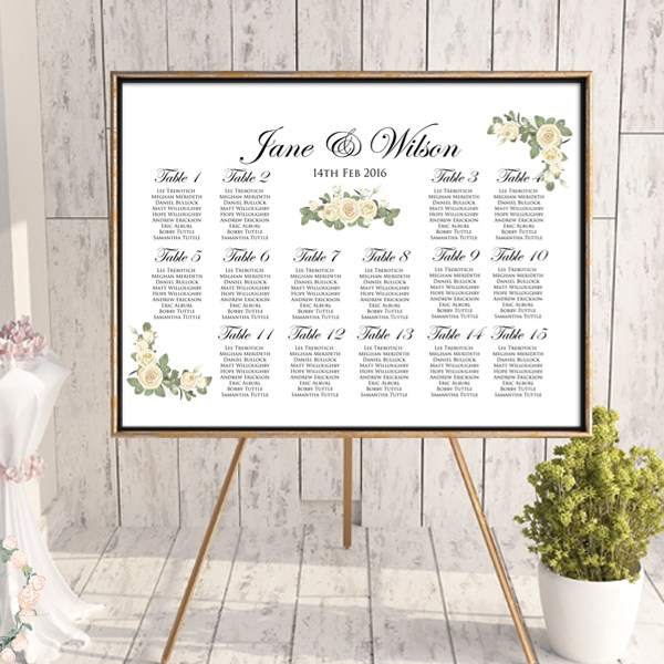 Elegant Ivory Wedding Seating Chart - Free Wedding Seating Charts