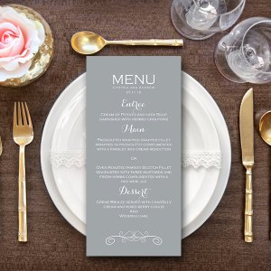 Personalized Elegant Modern Grey Wedding Menu-Custom Wedding Menu Printable