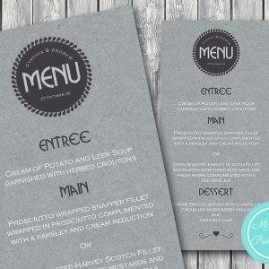 Personalized Textured Modern Grey Wedding Menu-Custom Wedding Menu Printable 2