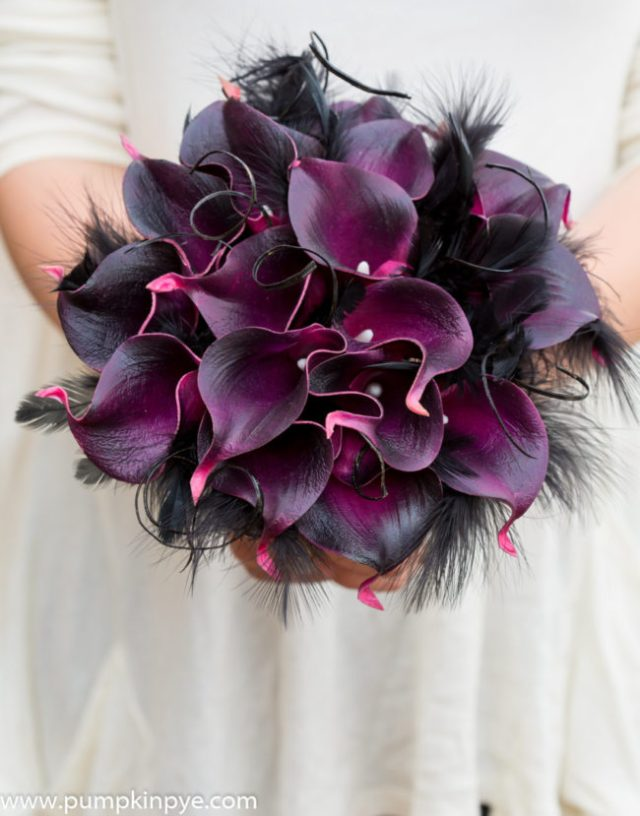 tim burton Calla and feather real touch bridal bouquet