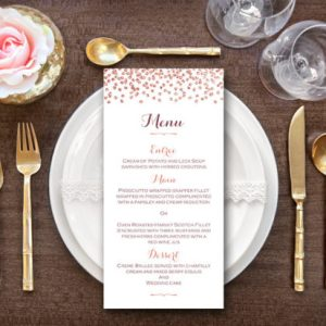 Rose Gold Personalized Wedding Menu