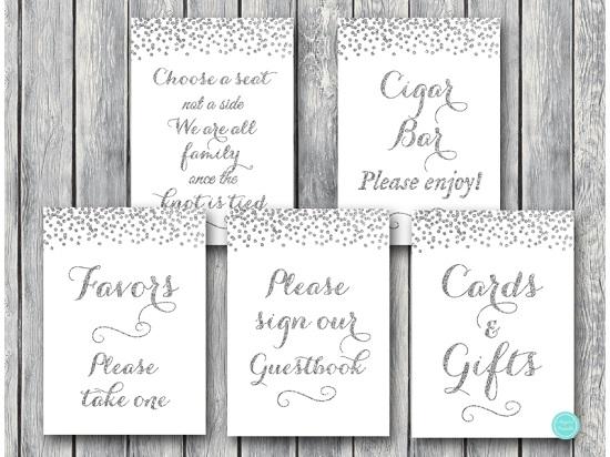 silver wedding signs