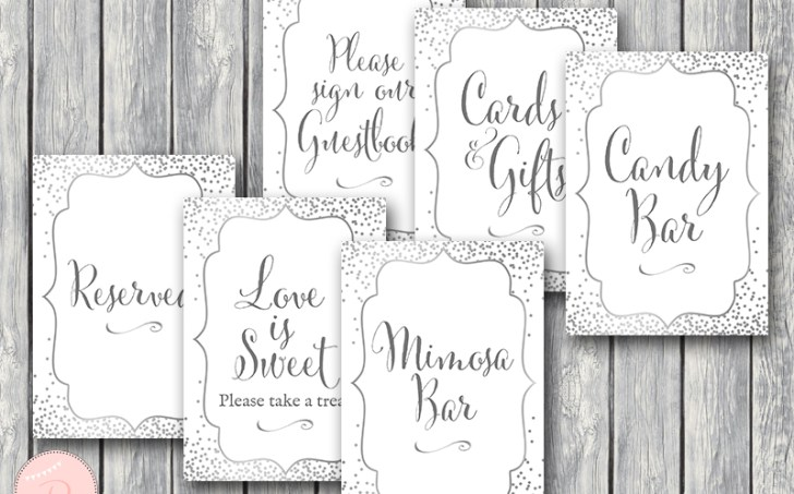 silver wedding shower signs