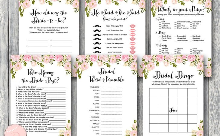 Peonies Bridal Shower Games Package Instant Download