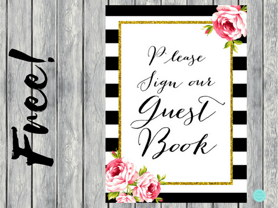 FREE Black Stripes Guestbook Sign