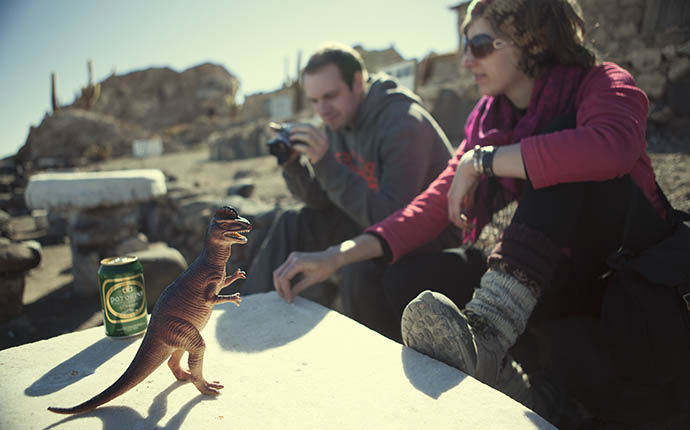 Dinosaur and beer can on salt flats