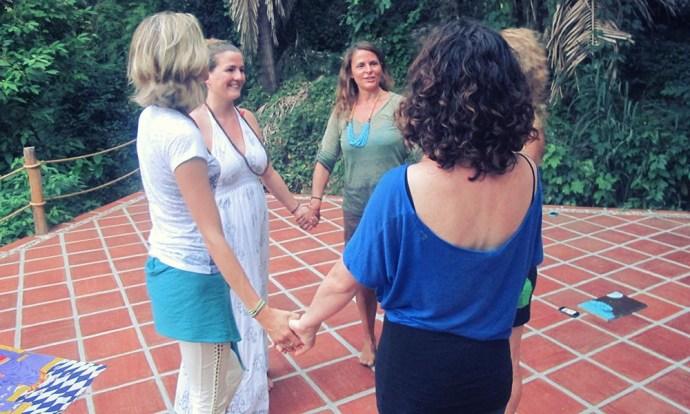 Yoga teachers and students at yoga teacher training