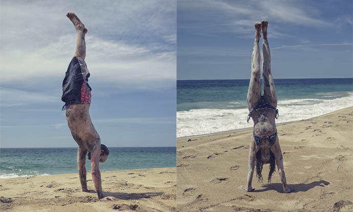 Victoria and Steve doing handstands