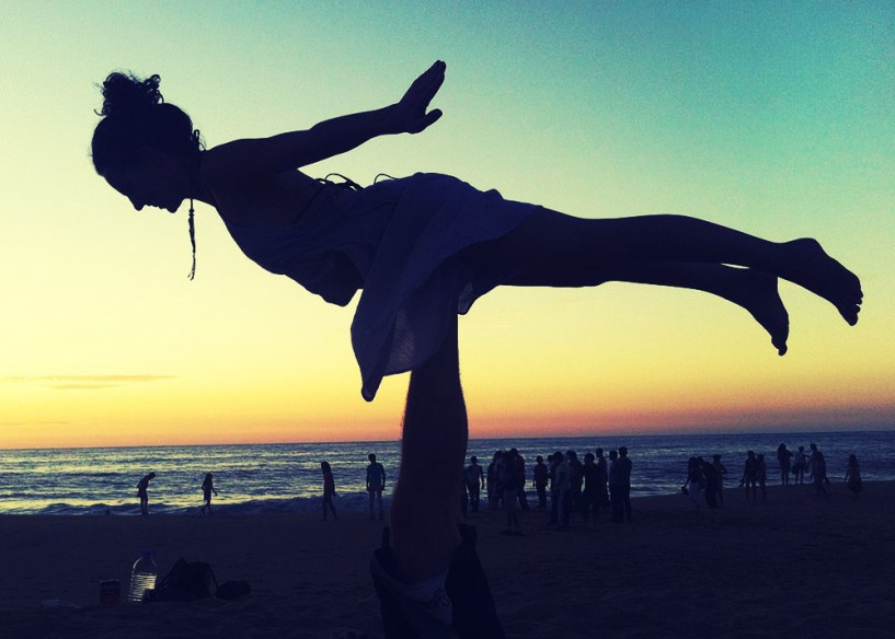 Acro yoga at sunset in San pancho, Mexico