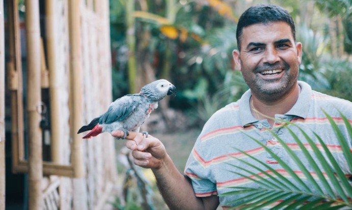 Man and parrot at Green School bird sanctuary