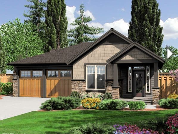Craftsman Home with Black Windows