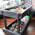 Rolling two tiered lego storage tray