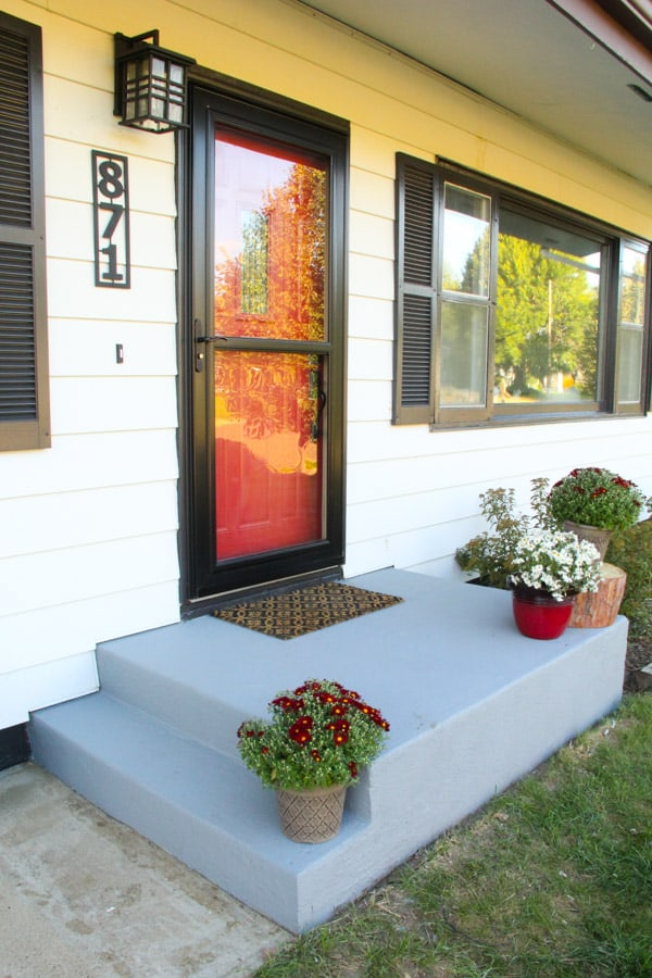 Cement Front Porch : An affordable porch makeover bright green door