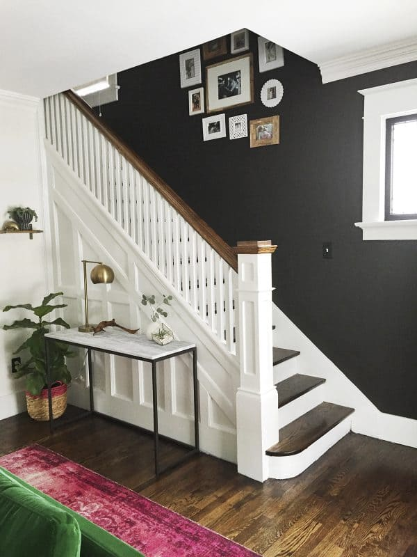 Painted staircases black vs white bright green door for Living room vs den