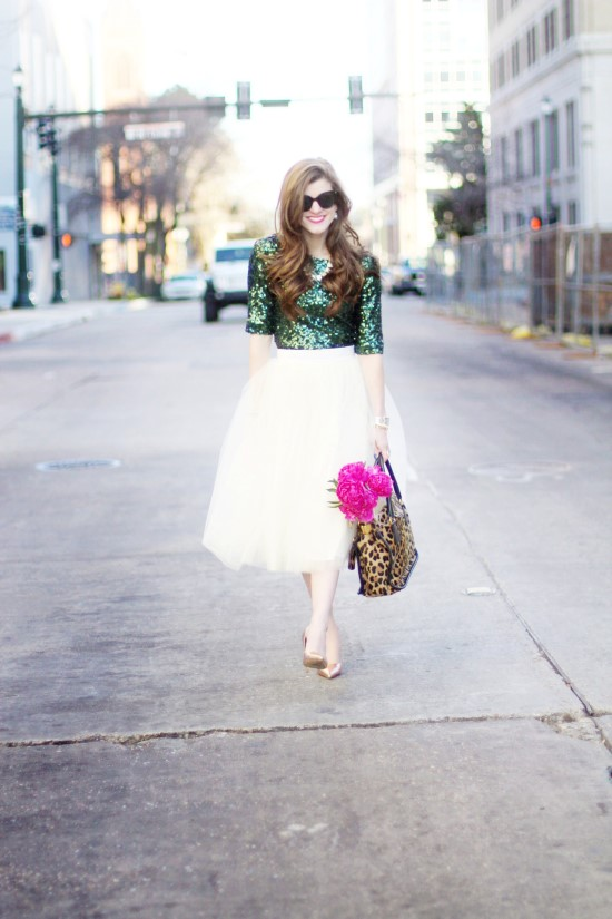 Emerald Green and Tulle Skirt (21) (Custom)