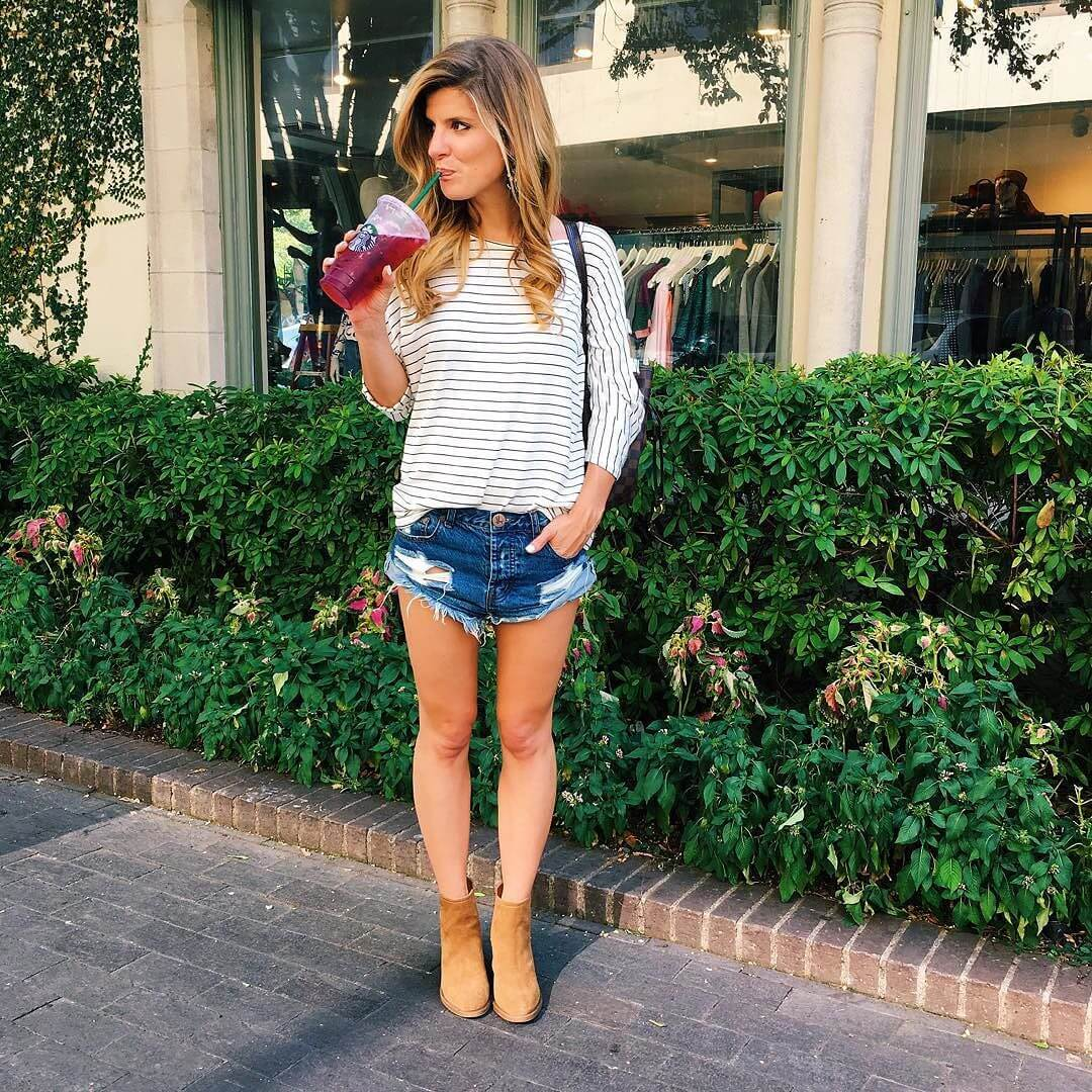 brighton the day denim shorts and stripe tee with booties