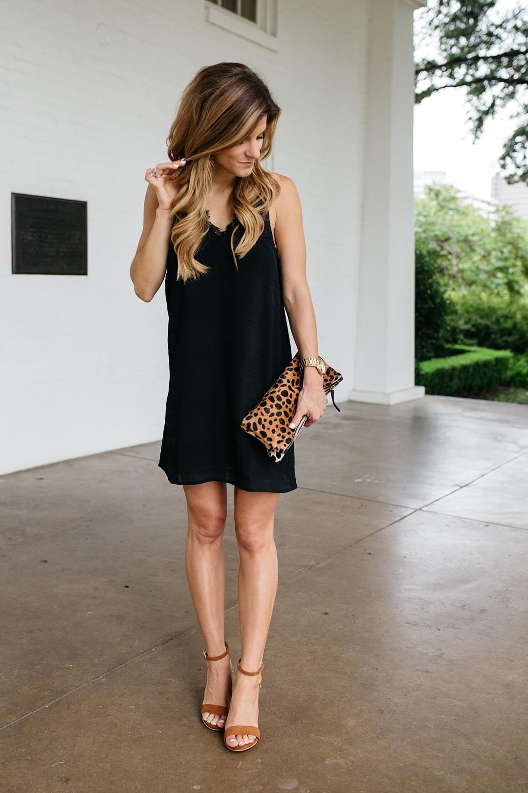 brighton keller hair extensions blog post wearing black lace trim slip dress, brown heels, leopard clutch, simple summer night time outfit