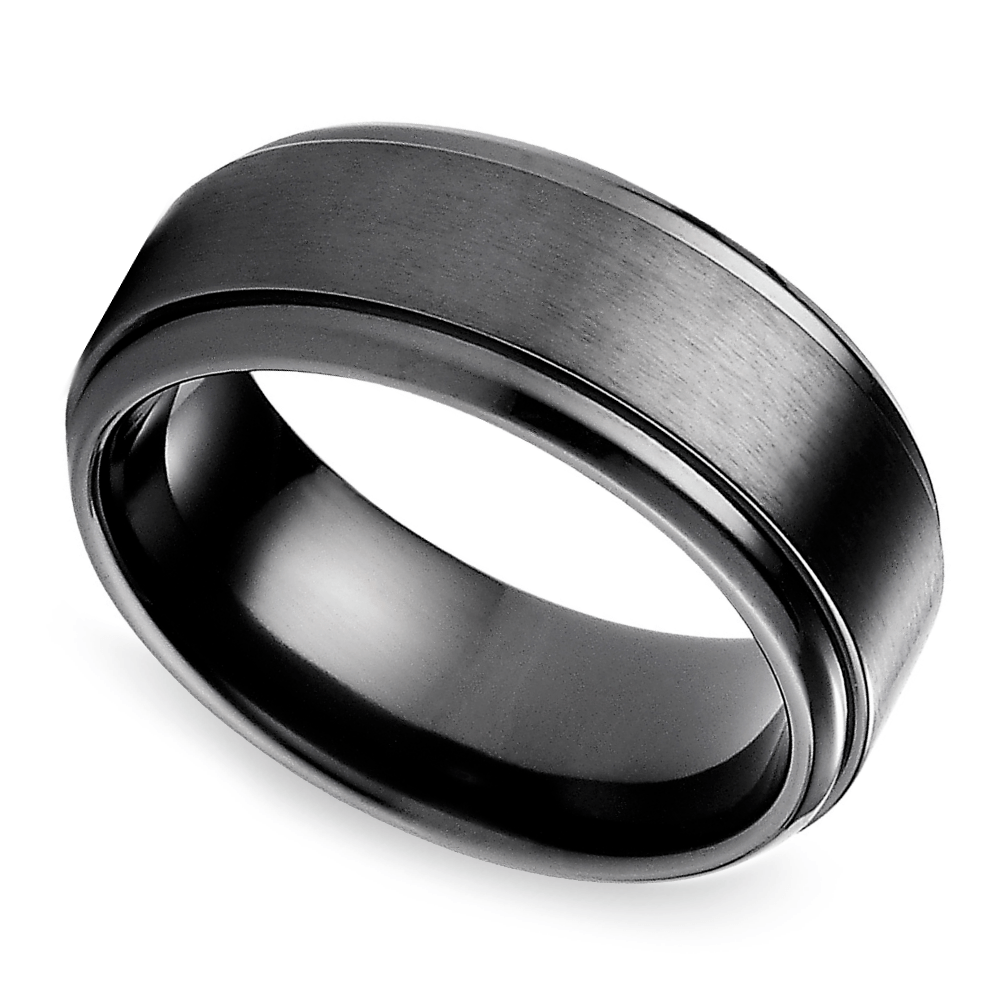 step edge mens band black titanium black mens wedding rings