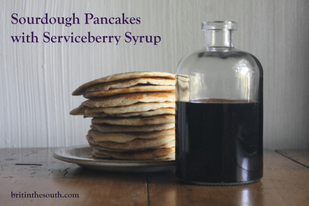 Sourdough Pancakes with Serviceberry Syrup from britinthesouth.com