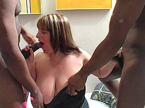 Melons Marie slobbers on two big black cocks