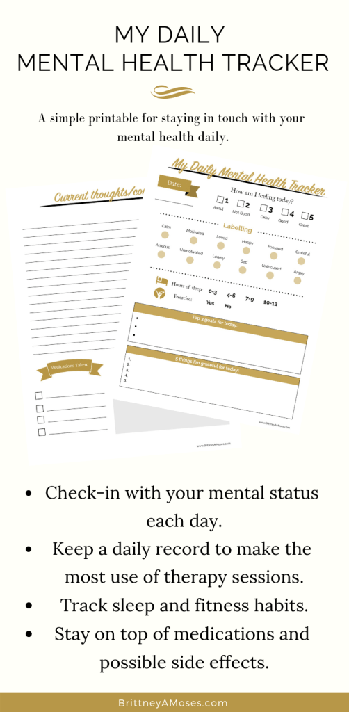 My Daily Mental Health Tracker Printable Is Here Brittney Moses