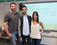 From left: Rugby star Ben Cohen with Arif Adam and Navah Bekhor from Diversity Role Models at the workshop at The Elmgreen School in Tulse Hill