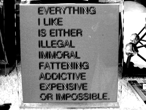 Everything I like is either illegal, immoral, fattening, addictive, expensive, or impossible