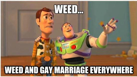 toy story meme of weed and gay marriage