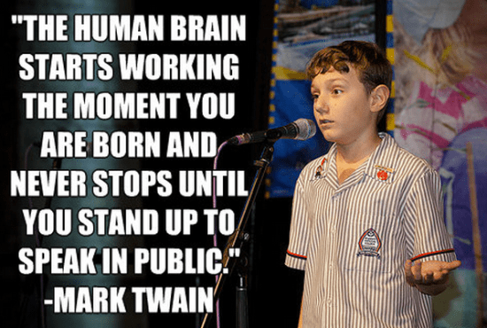 """""""The human brain starts working the moment you are born and never stops until you stand up to speak in public."""""""