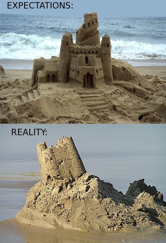 sand castle expectations vs reality