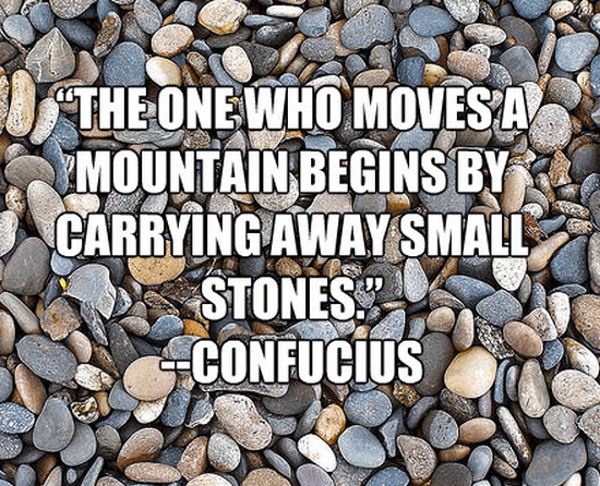 """""""The one who moves a mountain begins by carrying away small stones."""""""