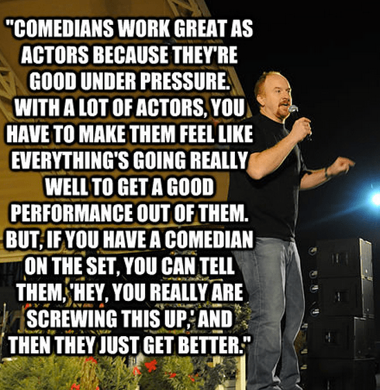 """""""Comedians work great as actors because they're good under pressure. With a lot of actors, you have to make them feel like everything's going really well to get a good performance out of them. But, if you have a comedian on the set, you can tell them, 'Hey, you really are screwing this up,' and then they just get better."""""""