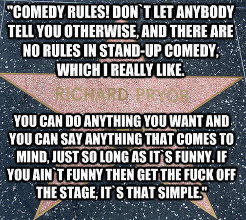 """""""Comedy rules! Don`t let anybody tell you otherwise, and there are no rules in stand-up comedy, which I really like. You can do anything you want and you can say anything that comes to mind, just so long as it`s funny. If you ain`t funny then get the fuck off the stage, it`s that simple."""""""