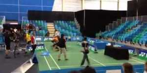 Badminton match turns into intense fight because badminton is serious business