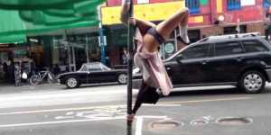 Girl puts on grandma costume and pole dances in the middle of crowded streets