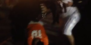 Brawl erupts as Chargers fan gang up on lone Broncos fan